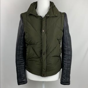 Blank NYC Green Faux Leather Sleeve Puffer Jacket